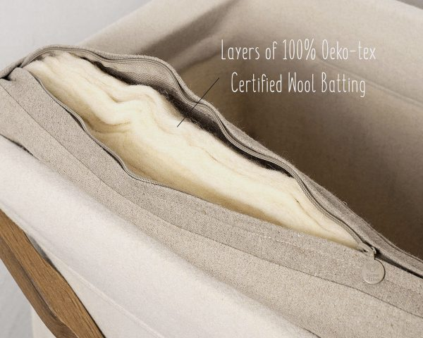 Home of Wool Koota crib mattress - inner batting detail - with text
