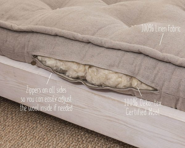 Home of Wool linen fabric cover mattress with stuffing detail - with text