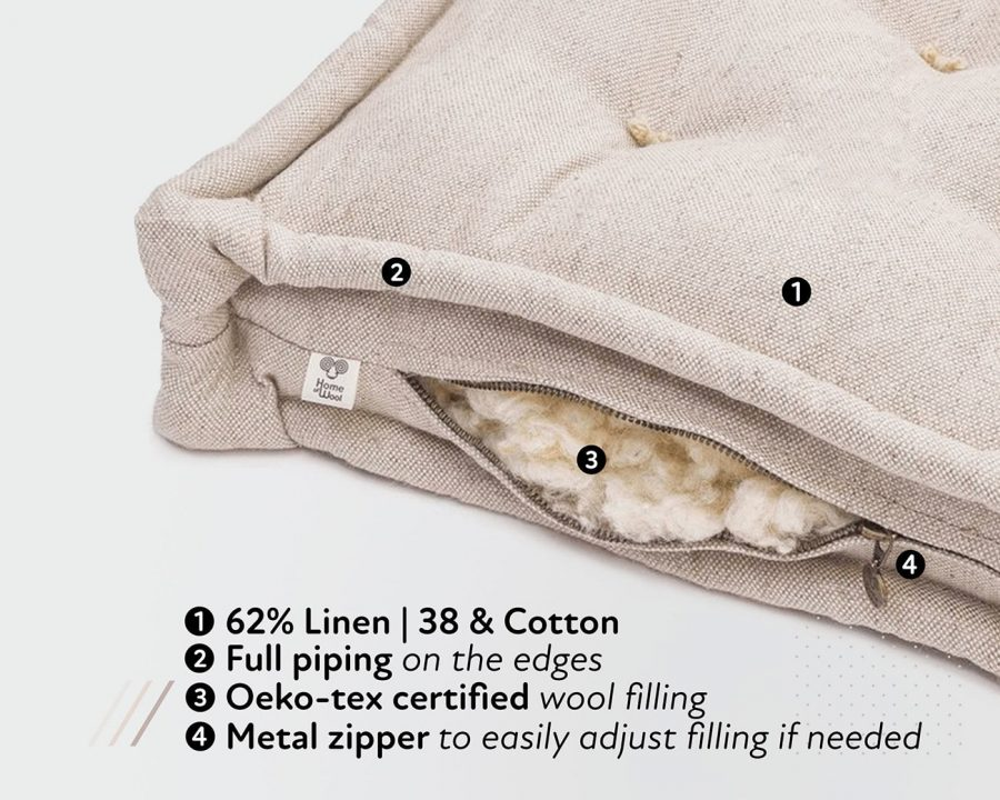 Home of Wool Bench cushion stuffing detail with text