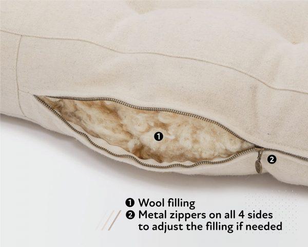 Home of Wool natural sniglar mattress - toddler mattress - zipper and stuffing detail