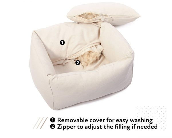 Home of Wool Natural pet bed with boards - open zipper - with text