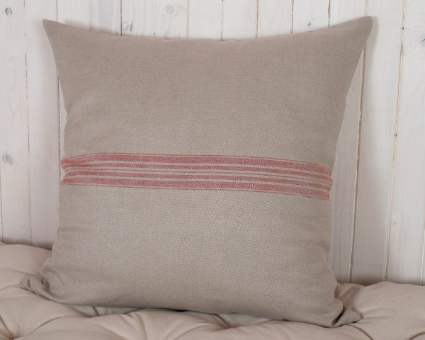 Natural 100% linen pillowcase with red stripes