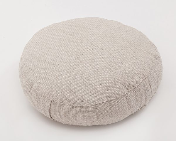 Natural zafu meditation cushion - cover with stitched fabric