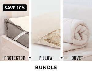 Home of Wool Complementary Bedding Bundle - wool mattress protector, adjustable sleeping pillow and wool duvet insert