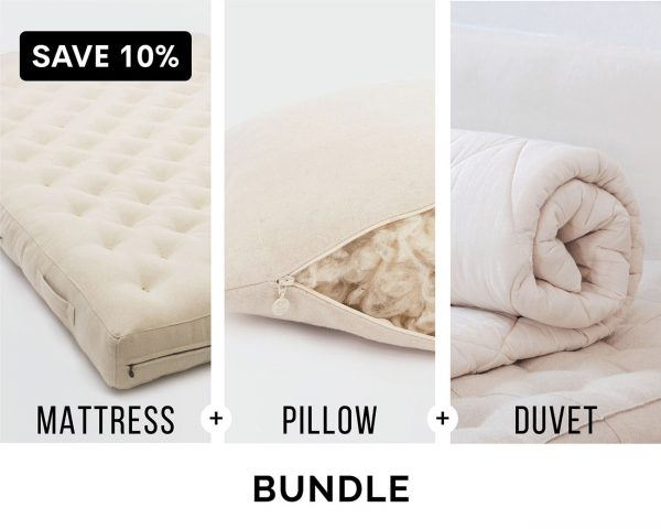 Home of Wool Complementary Bedding Bundle - wool mattress, adjustable sleeping pillow and wool duvet insert