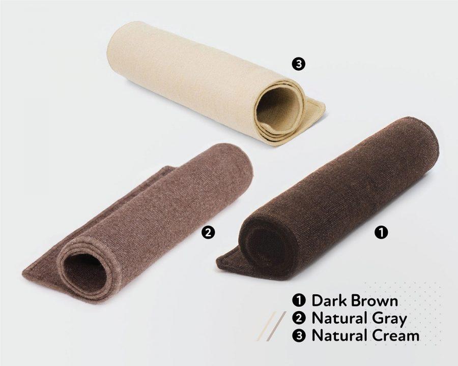 Home of Wool Natural Wool Yoga Mat - Natural cream and dark color