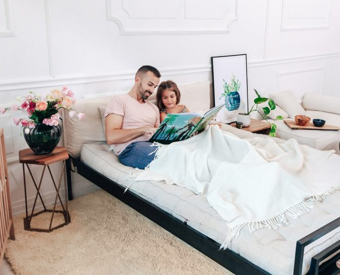 Home of Wool - father and daughter on wool mattress