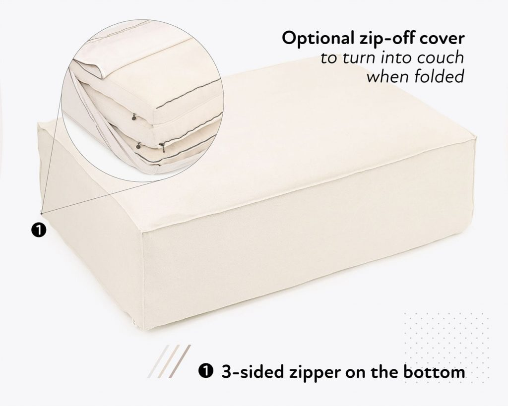 Home of Wool foldable wool mattress with zip-off cover - details