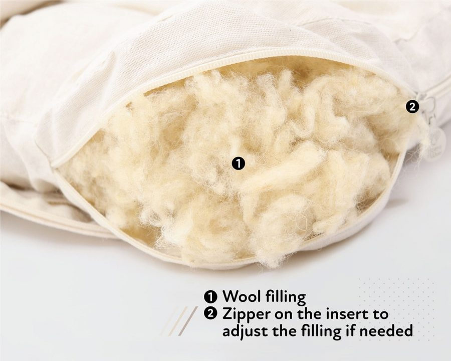 Home of Wool non tufted chair cushion for Ikea Marieberg Chair - wool stuffing detail