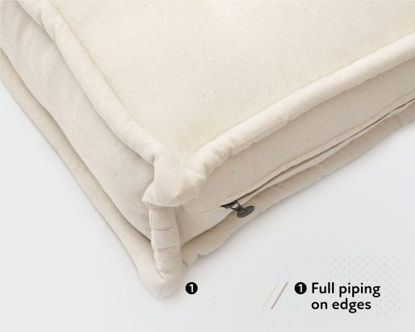 Home of Wool GOTS certified wool mattress 3 inches thick with piped edges
