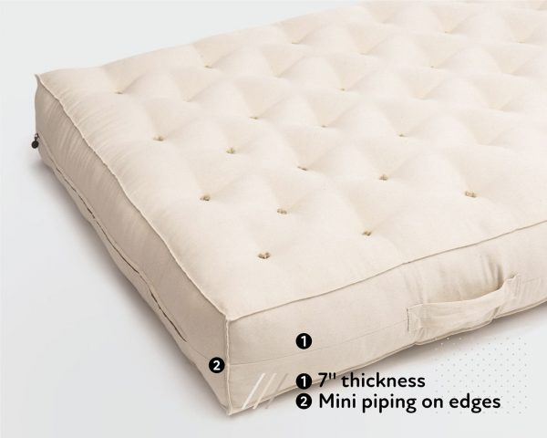 Home of Wool GOTS certified wool mattress 7 inches thick with non piped edges