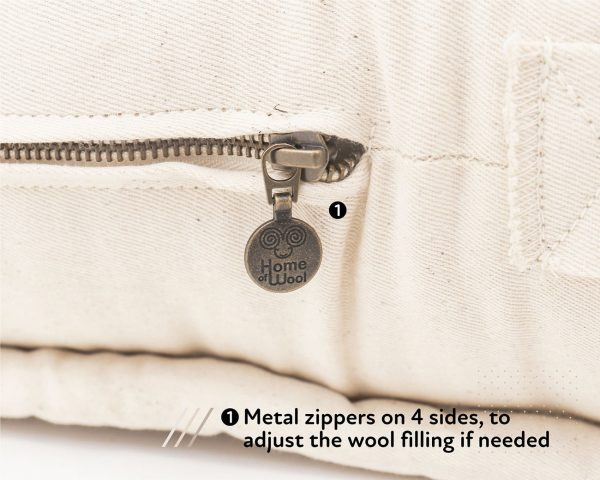 Home of Wool GOTS certified wool mattress - zipper detail