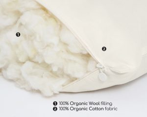 Home of Wool 100% organic GOTS certified sleeping pillow wool stuffing detail