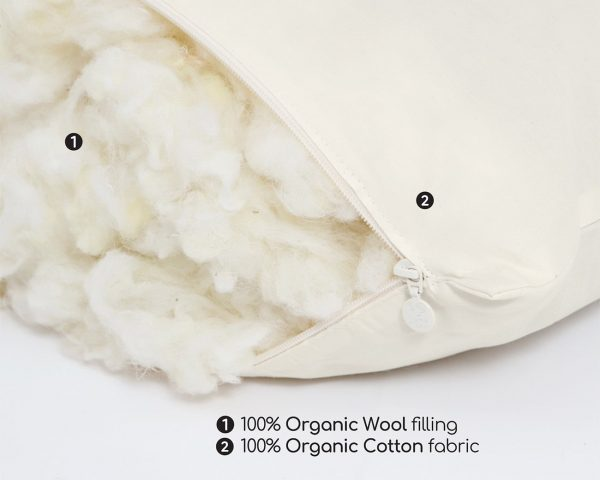 Home of Wool 100% organic GOTS certified sleeping pillow wool stuffing detail