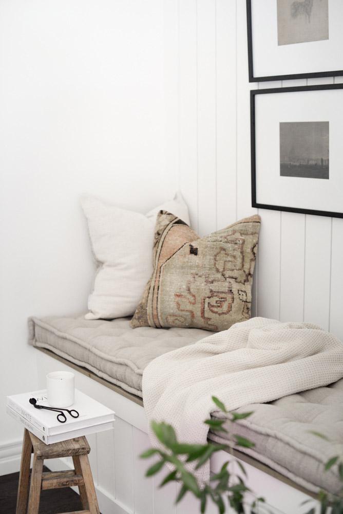 Home of Wool and Grey Lane Homestead collaboration - custom handmade linen bench cushion side detail