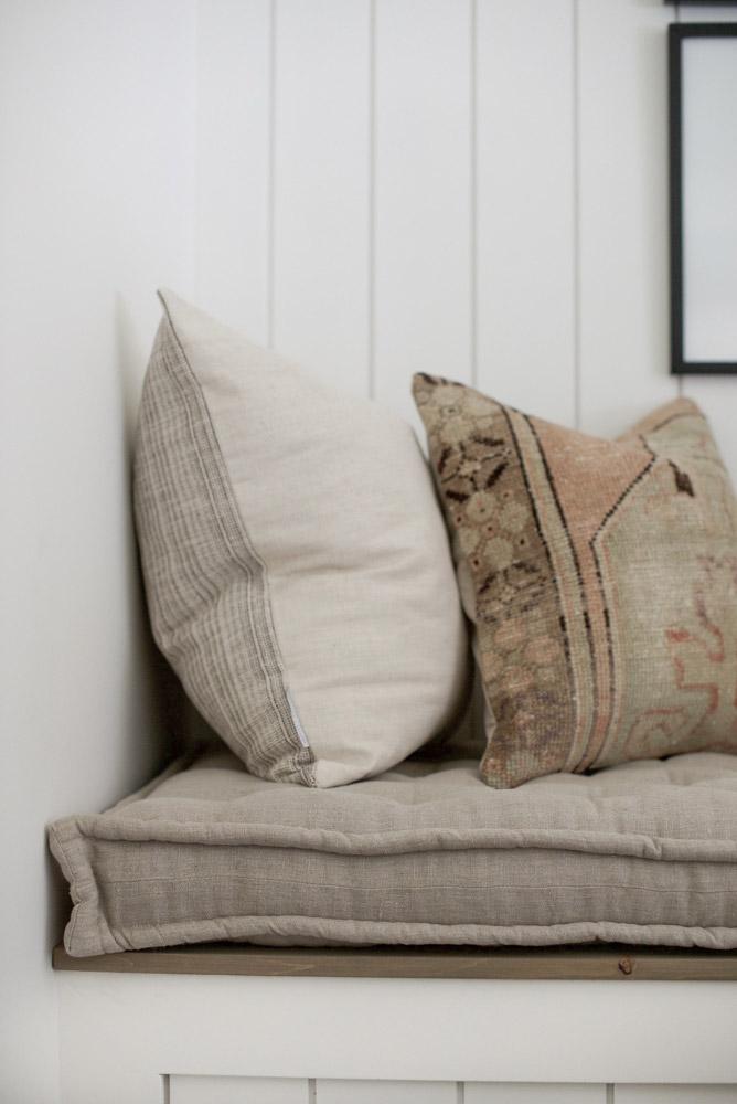 Home of Wool and Grey Lane Homestead collaboration - custom handmade linen bench cushion - side detail