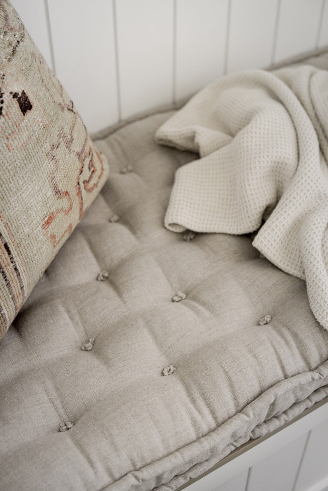 Home of Wool and Grey Lane Homestead collaboration - custom handmade linen bench cushion - tufting detail