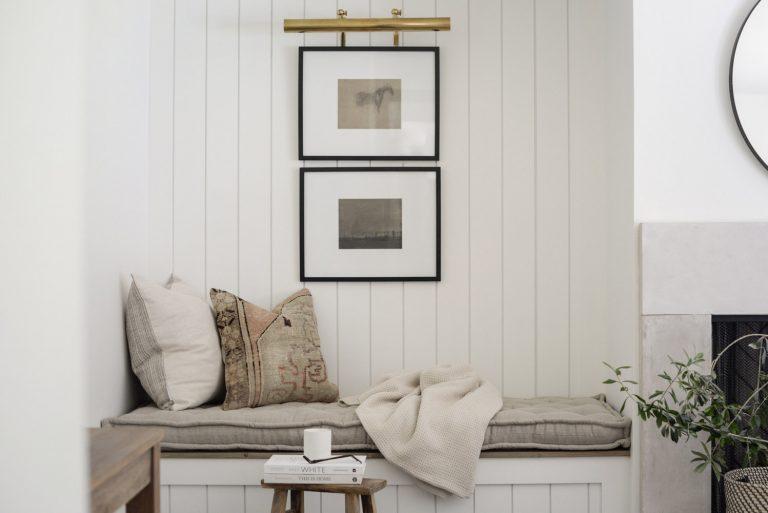 Home of Wool and Grey Lane Homestead collaboration - custom handmade linen bench cushion