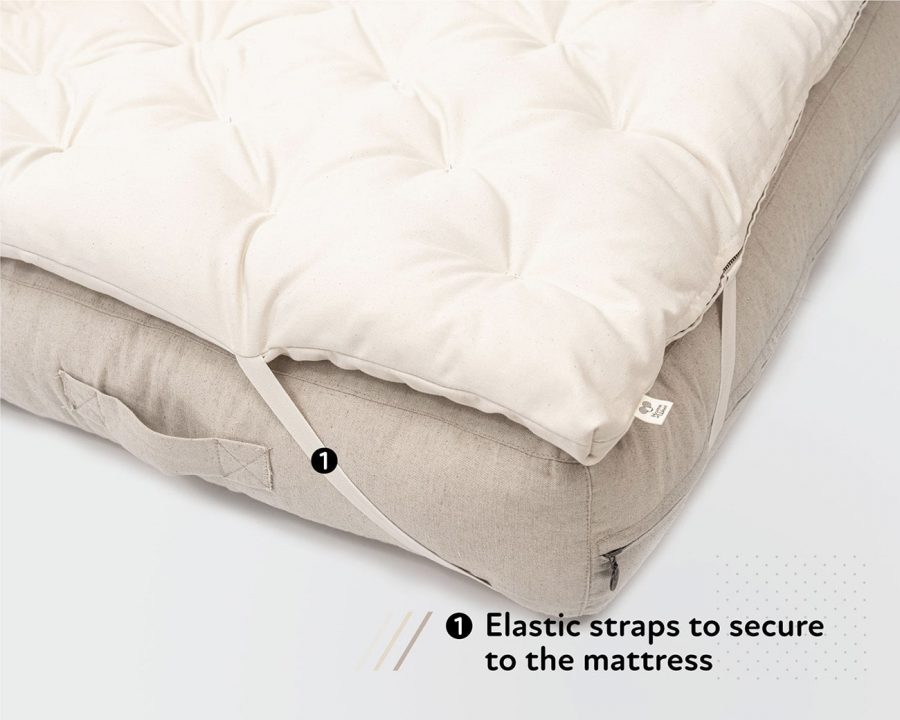 Home of Wool organic wool mattress topper with elastic straps