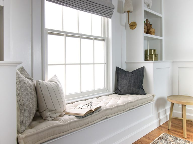 Home of Wool and Stefana Silber collaboration - custom window reading nook cushion