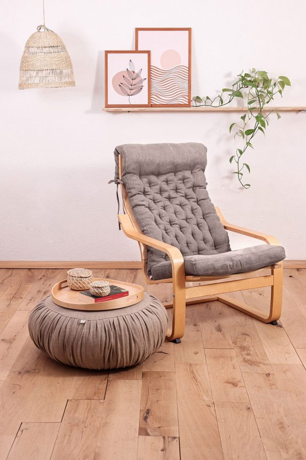 Home of Wool poang chair cushion in setting