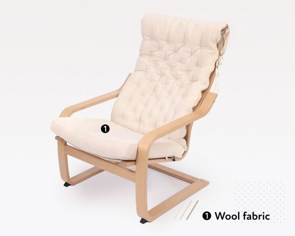Home of Wool poang chair with wool fabric cover